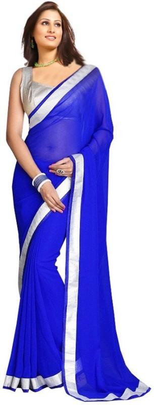Fashion And Hub Solid Fashion Georgette Saree(Blue)