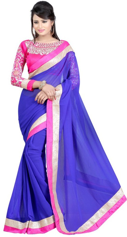 Winza Designer Self Design, Embroidered, Embellished, Solid Bollywood Georgette, Poly Georgette Saree(Multicolor, Blue, Pink)