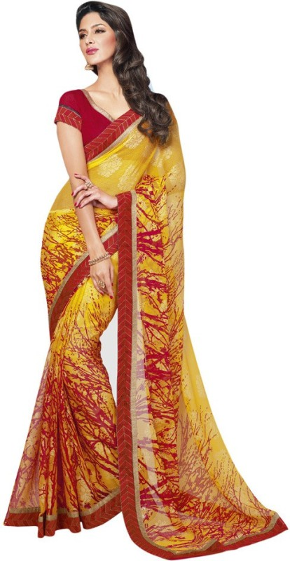 Vishal Printed Fashion Cotton Blend Saree(Yellow)