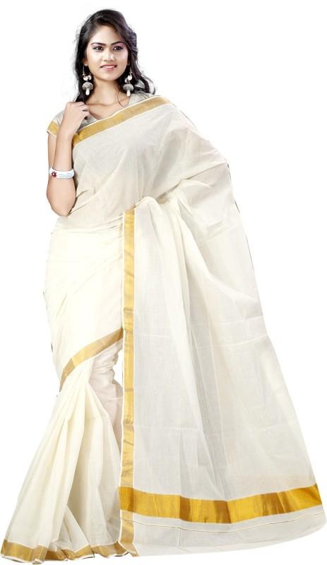 Vastrakala Solid Fashion Cotton Saree(White)
