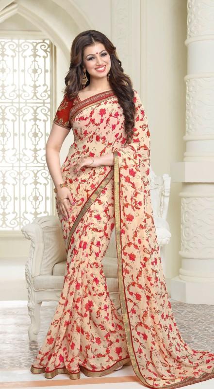 Kamelasaree Floral Print Bollywood Georgette Saree(Red, Pink)