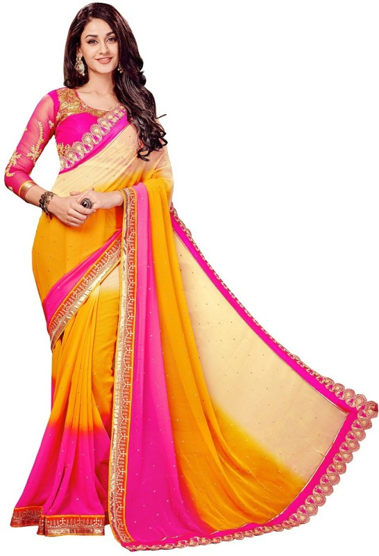 onlinefayda Embroidered Fashion Georgette Saree(Beige, Pink, Yellow)