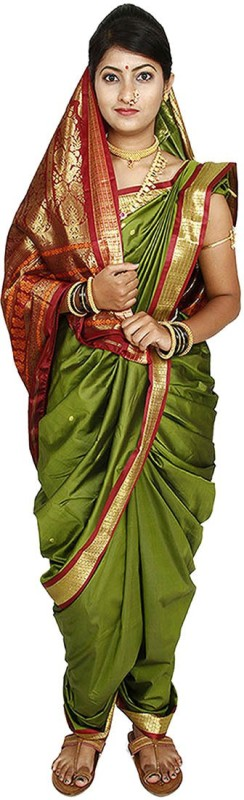 Womens Cottage Solid Assam Silk Art Silk Saree(Dark Green)