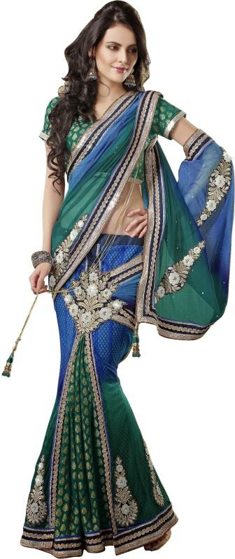 Jiya Self Design, Embroidered, Embellished Fashion Cotton Blend Saree(Green, Blue)