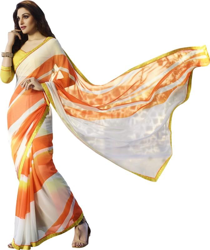 Khushali Self Design, Printed Fashion Georgette Saree(White, Orange, Yellow)