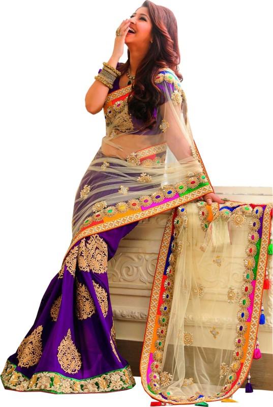 Shivanifashion Embroidered Bollywood Handloom Cotton Blend Saree(Dark Blue, White)
