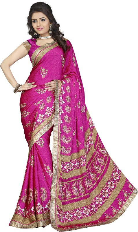 Khoobee Self Design, Printed Fashion Silk, Crepe, Jacquard Saree(Pink, Beige)