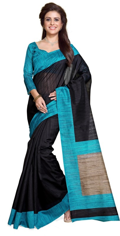 Mirchi Fashion Printed Fashion Art Silk Saree(Light Blue, Black)