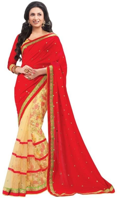 Saumya Designer Floral Print Fashion Cotton Blend, Chiffon Saree(Red)