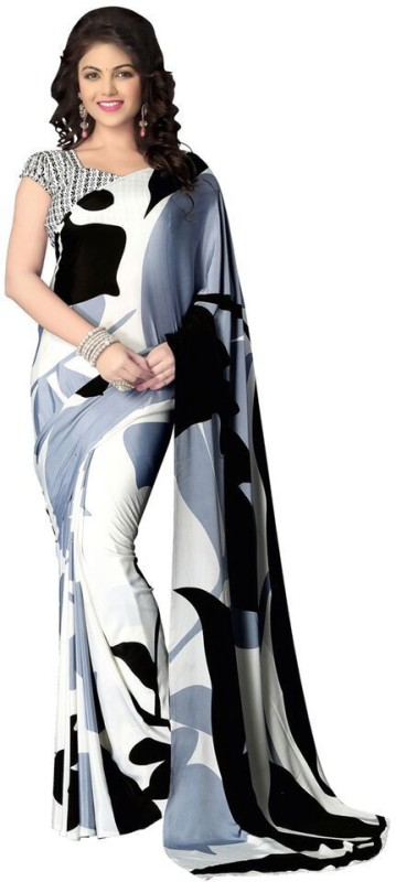 Saara Printed, Digital Prints Daily Wear Crepe Saree(Black, White)