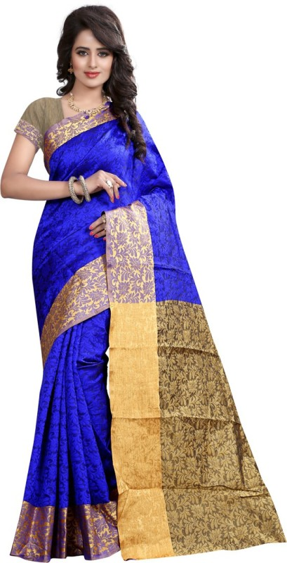 Shelina Floral Print Fashion Cotton Blend Saree(Blue)