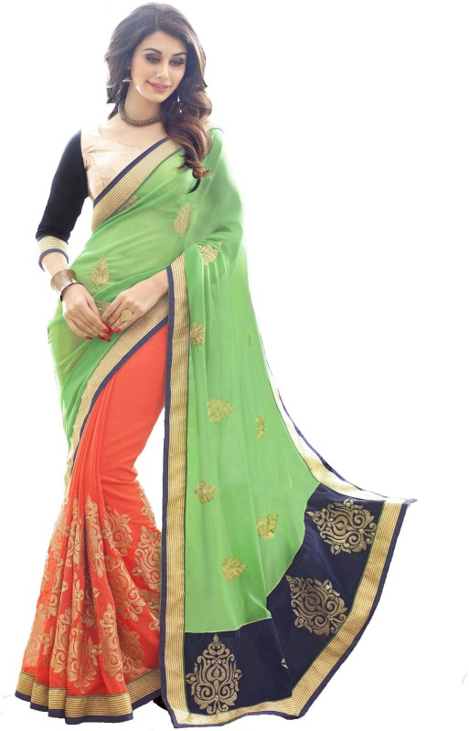 T Zone Trading Co. Embroidered Bollywood Georgette Saree(Light Green)