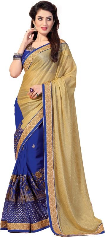 M.S.Retail Embroidered Fashion Brasso, Chiffon Saree(Blue)