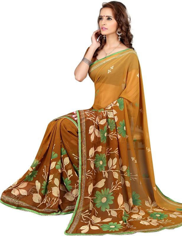 Khushali Self Design, Printed Fashion Georgette Saree(Brown, Multicolor)