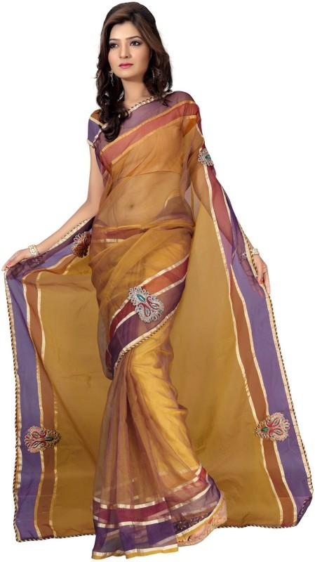 Silkbazar Printed Daily Wear Tissue Saree(Beige)