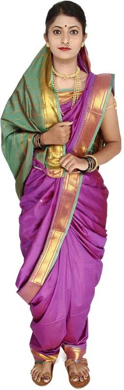 Womens Cottage Solid Assam Silk Art Silk Saree(Magenta)