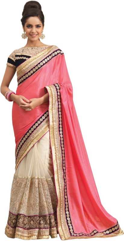 0773592ad6 Chirag Sarees Embroidered Fashion Crepe Saree(Pink)