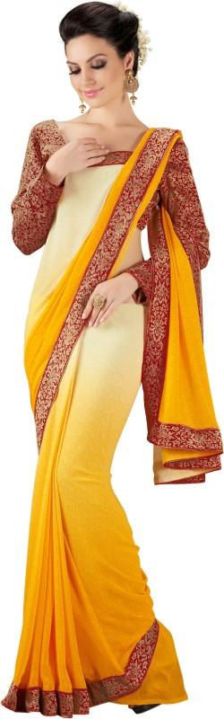 Khushali Self Design, Printed Fashion Georgette Saree(Beige, Yellow, Maroon)