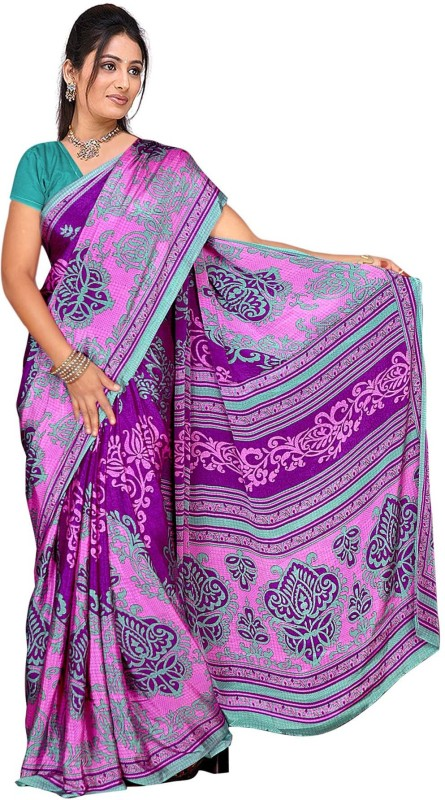 Trendz Printed Fashion Crepe Saree(Purple)