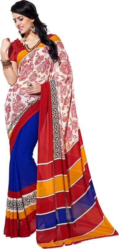 Khushali Self Design, Printed Fashion Georgette Saree(Red, Dark Blue, Multicolor)