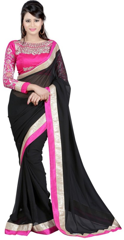 WINZA DESIGNER Self Design, Embroidered, Embellished, Solid Bollywood Poly Georgette Saree(Multicolor, Black, Pink)