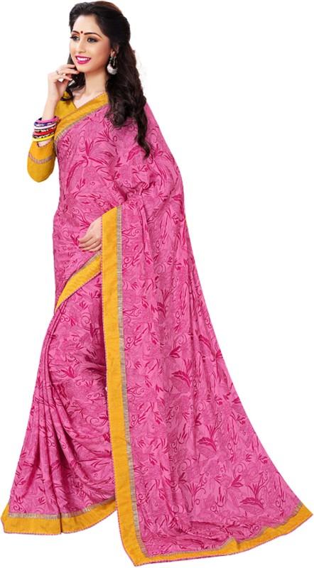 Khushali Self Design, Printed Fashion Crepe Saree(Pink)