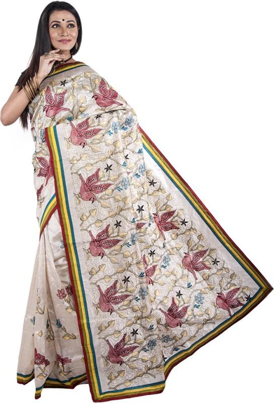 Bani Vastralaya Embroidered Phulkari Jute Saree(White)