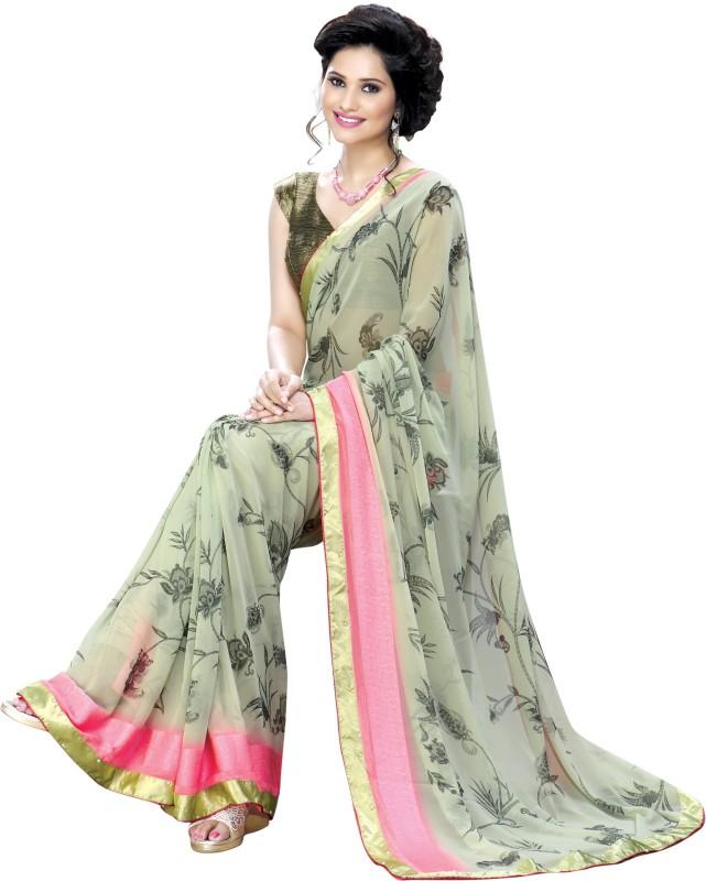 Oomph! Floral Print Fashion Georgette Saree(Green)