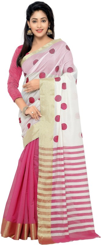 Nilesh Fab Embroidered Banarasi Handloom Cotton Saree(Multicolor)