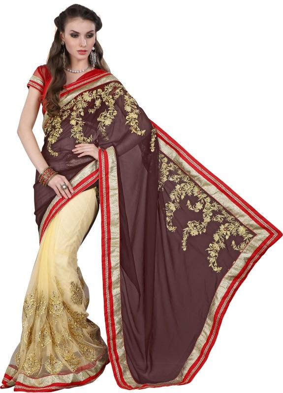 Khushali Self Design, Embroidered, Embellished Fashion Cotton Blend, Poly Georgette Saree(Red, Brown, Beige)