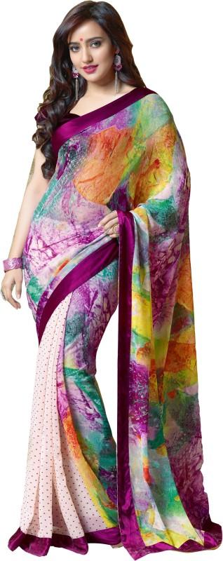Khoobee Self Design, Printed Fashion Georgette Saree(Multicolor, White)