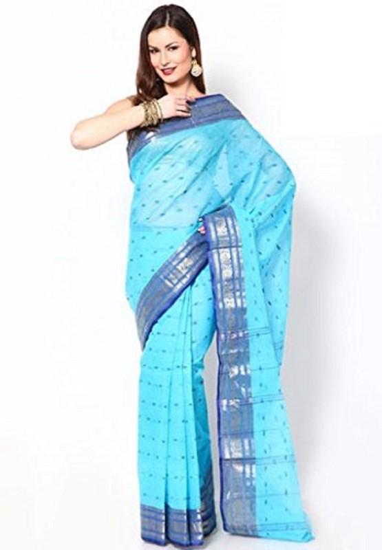 Rudrakshhh Embroidered Jamdani Handloom Cotton Saree(Blue)