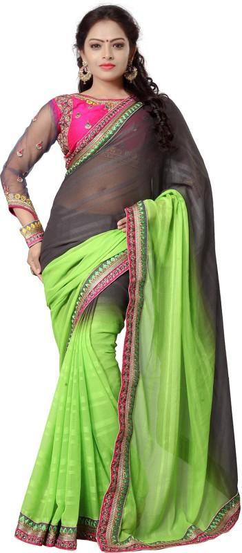 Ishin Embroidered Fashion Cotton Blend Saree(Grey)