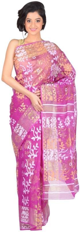 RLBFashion Self Design Jamdani Handloom Cotton Blend, Art Silk Saree(Magenta)