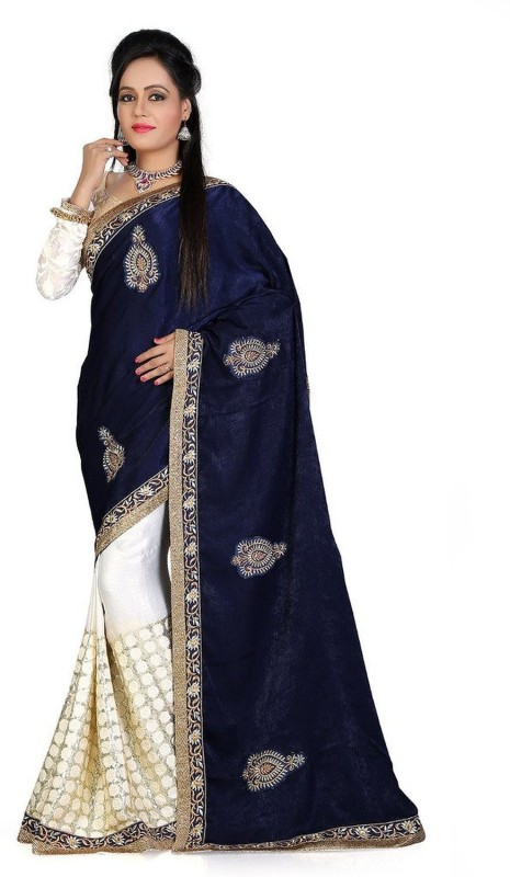 FabPandora Embroidered Fashion Satin, Georgette Saree(Blue, White)