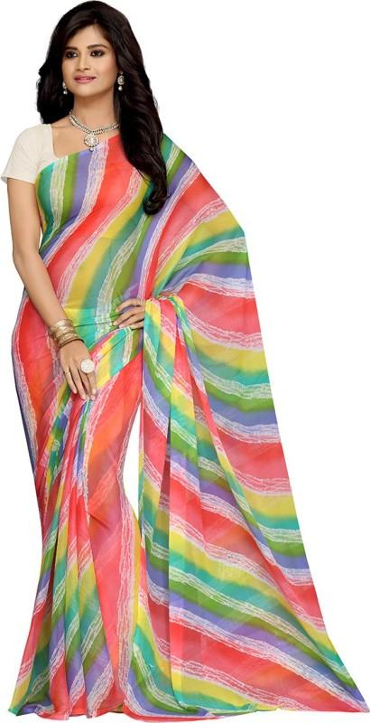 Rani Saahiba Printed Leheria Synthetic Chiffon Saree(Multicolor)