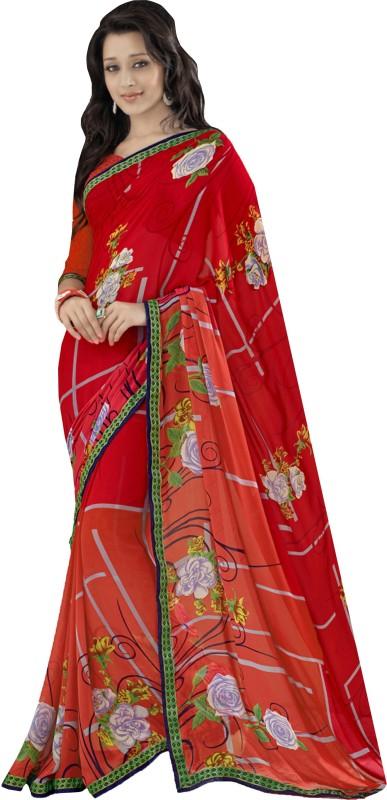Khushali Self Design, Printed Fashion Georgette Saree(Red)