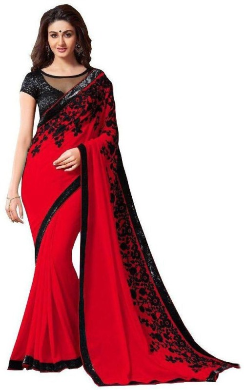 Bhuwal Fashion Embroidered Fashion Chiffon Saree(Red)
