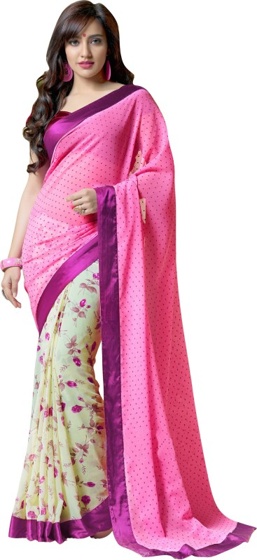 Khoobee Self Design, Printed Fashion Georgette Saree(Pink, Beige, Multicolor)