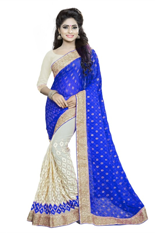 Rola Trendz Embroidered, Self Design Fashion Georgette, Brasso Saree(Multicolor)