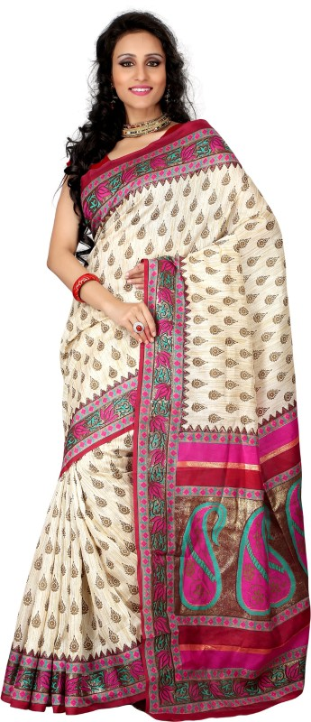 Khushali Self Design, Printed Fashion Art Silk Saree(Beige, Multicolor)