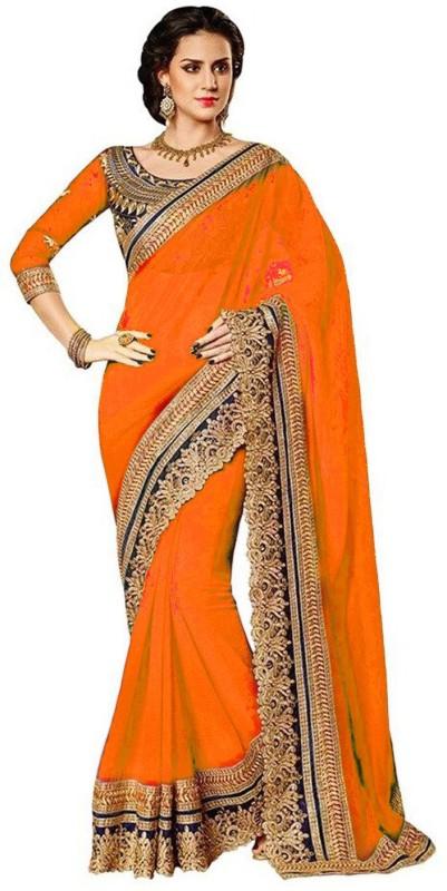 Winza Designer Printed Bollywood Georgette Saree(Orange)