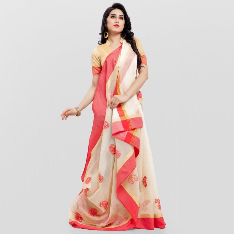 Divastri Self Design, Embroidered Kanjivaram Kota Cotton, Silk Cotton Blend Saree(Multicolor)