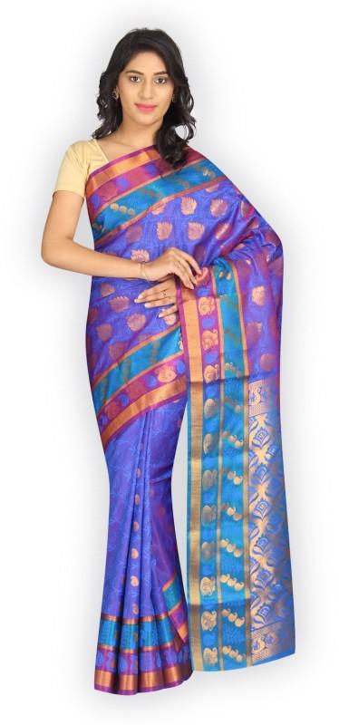 Pavechas Self Design Banarasi Silk Cotton Blend Saree(Purple)