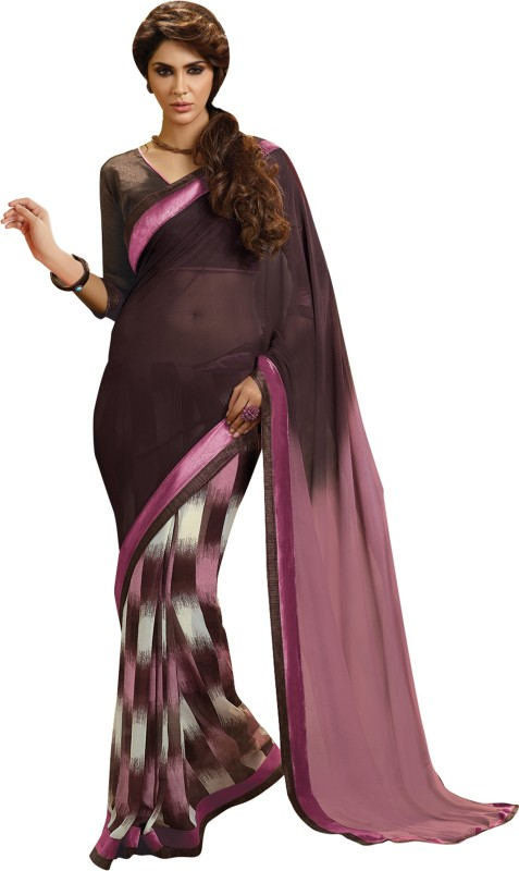 Khushali Self Design Fashion Chiffon Saree(Multicolor, Brown, Pink)