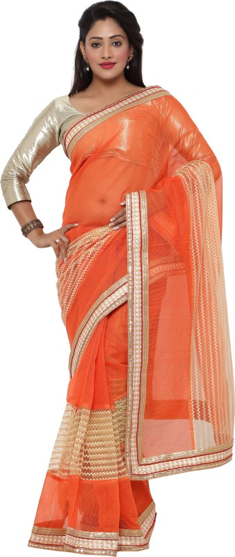 sarvagny clothing Self Design Kota Doria Kota Cotton, Net Saree(Orange)