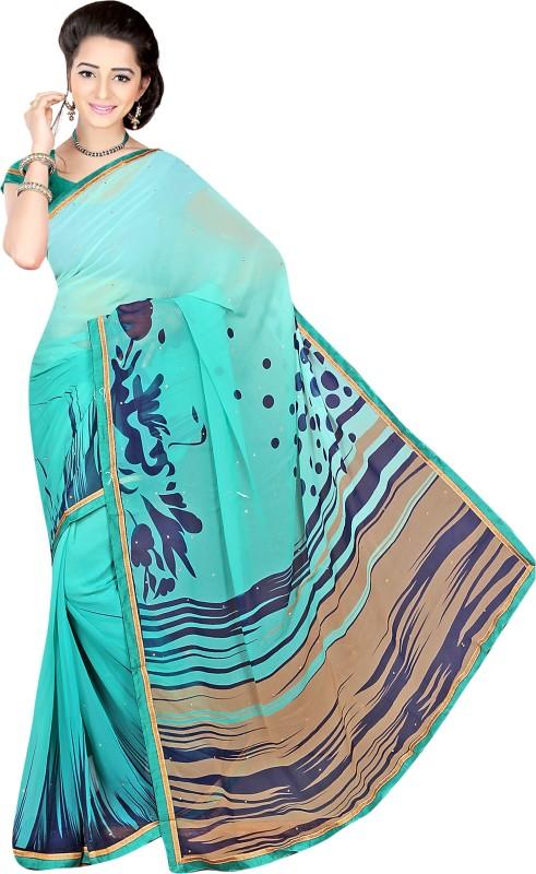 Khushali Self Design, Printed, Embellished Fashion Georgette Saree(Light Blue, Multicolor)