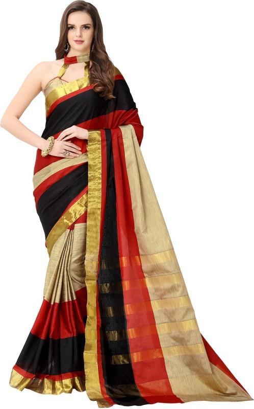 Glory Sarees Striped Chanderi Handloom Poly Chanderi Saree(Multicolor)
