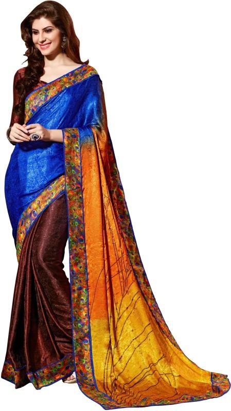 Khushali Self Design, Printed, Embellished Fashion Silk, Crepe, Jacquard Saree(Multicolor, Maroon)