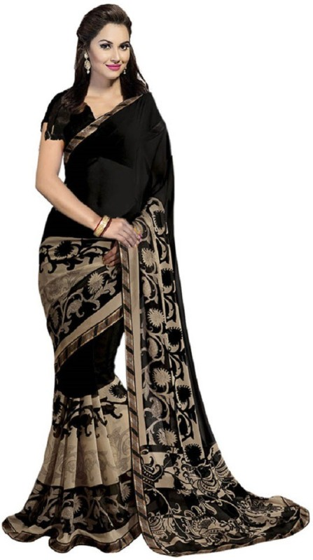 Nilesh Fab Printed Bollywood Pure Georgette Saree(Black)